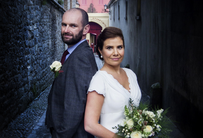 moody wedding photography in the dark laneway of smithwick's brewery kilkenny with beautiful bride and groom